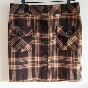 LOFT Wool Plaid Button Pencil Skirt
